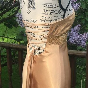 Cache Dresses - Cache Gold satin sequin prom dress